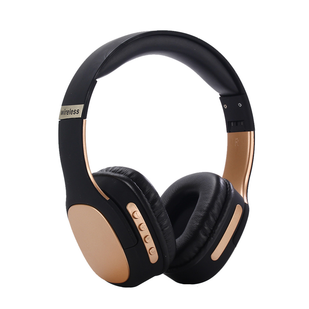 BT5.0 Headset Head-mounted Sports Foldable Multicolor Wireless Headset Phone Headset Gold