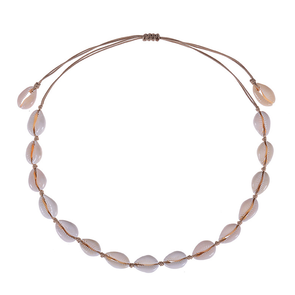 Bohemian Style Natural Shell Hand Knitting Necklace/Bracelet Beige-shell necklace
