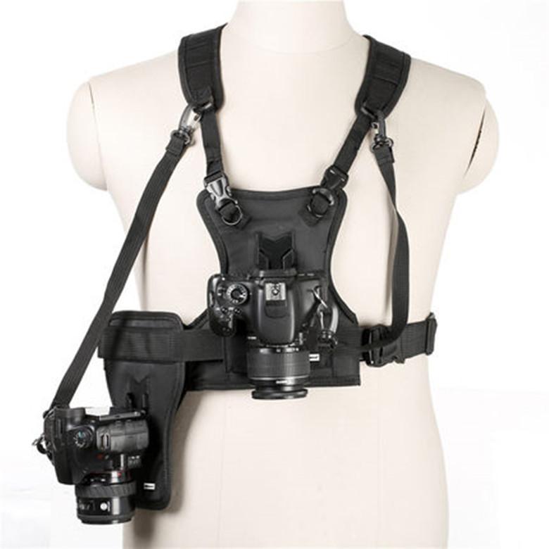 MSP01 Outdoor Photography Vest Shoulder Strap One-piece SLR Vest Double Machine Belt Fast-grabbing Buckle black