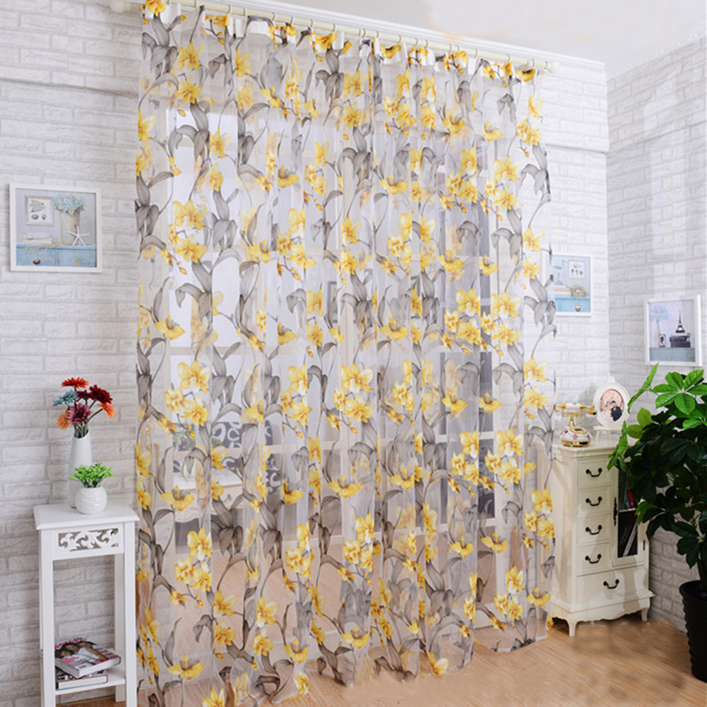 Window Curtain Tulle with Yellow Floral Printing for Bedroom Living Room Balcony  1m wide * 2m high_Yellow yarn