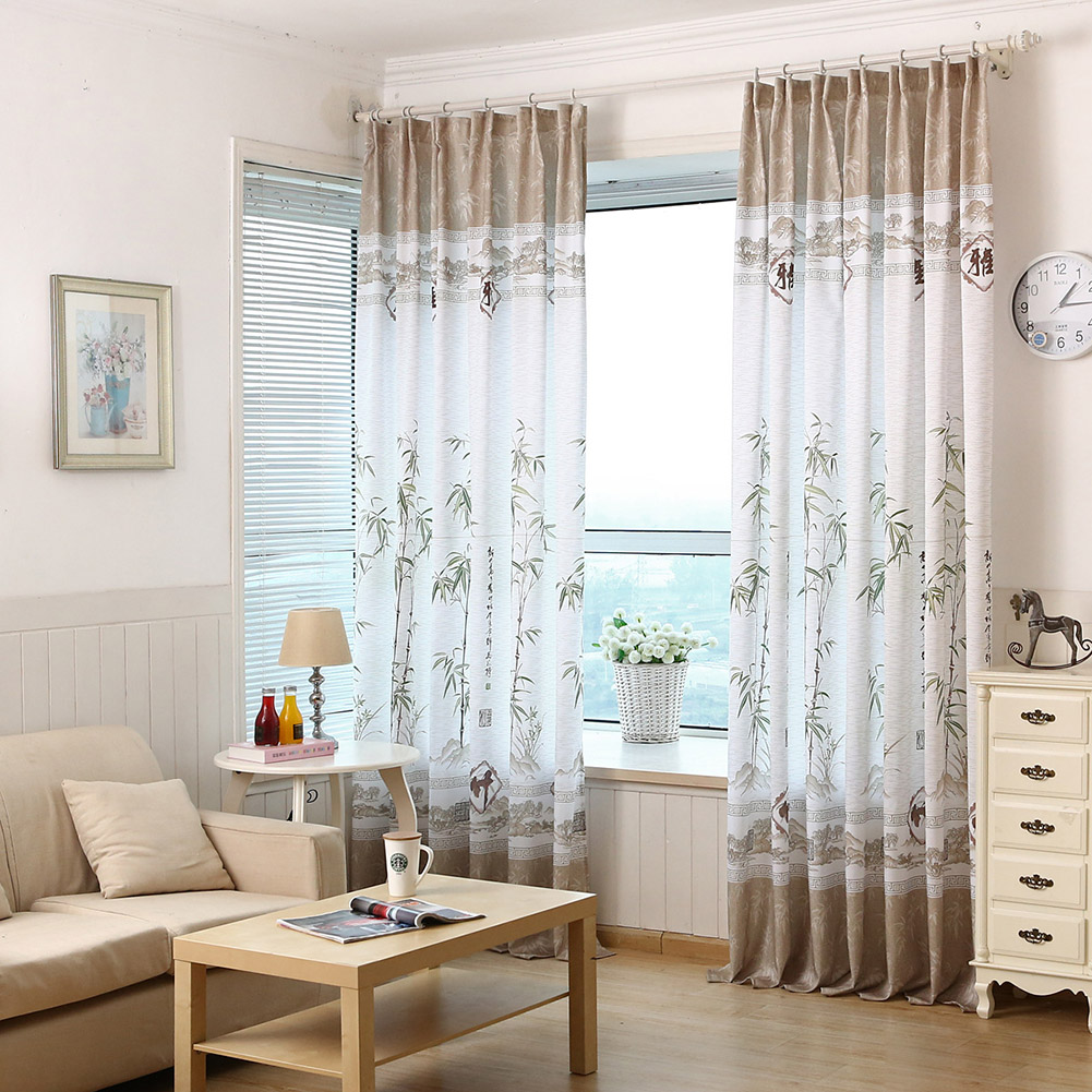 Bamboo Printing Window Curtain Half Shading Tulle for Bedroom Living Room Balcony Decor As shown_1.4m wide * 2.4m high