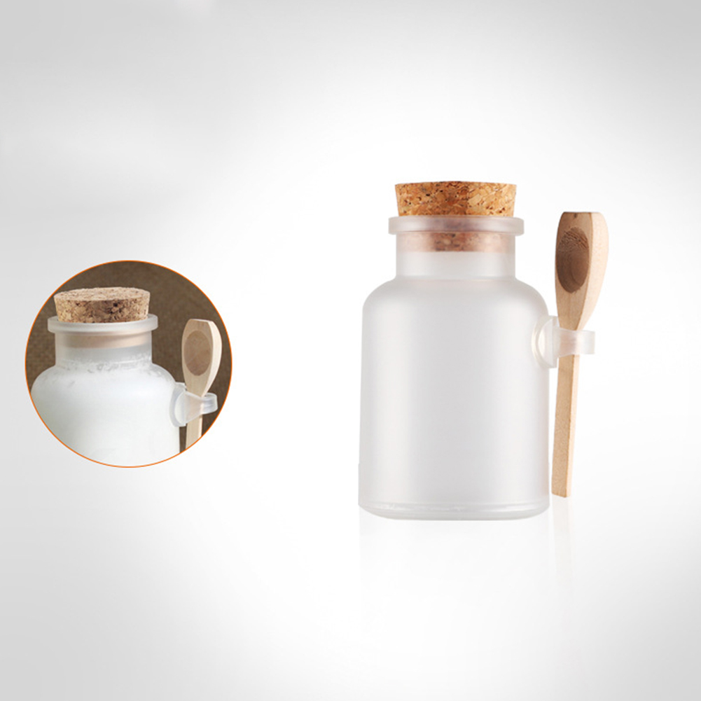100ml Scrub Bath Salt ABS Bottle with Wooden Lid Spoon Cork Storage Stopper Bottle Frosted Seal Jar Home Bathroom 100ml