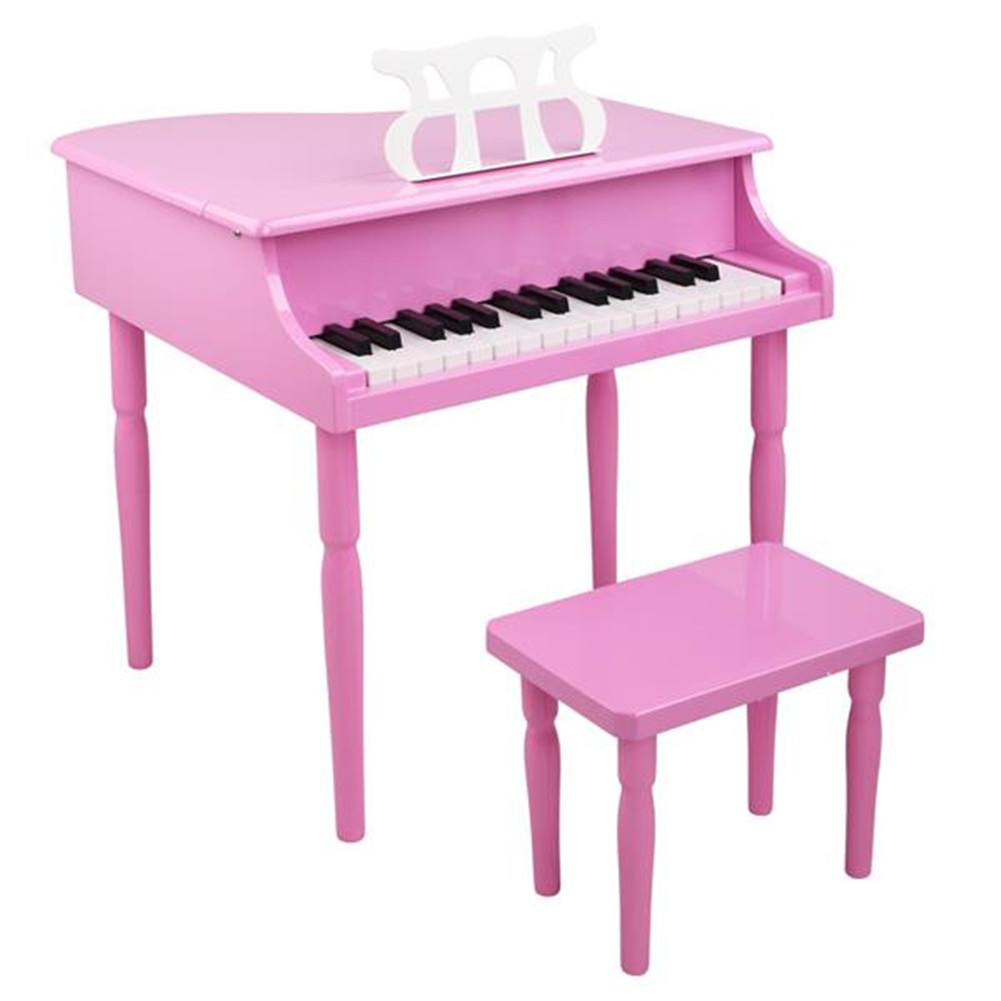 [US Direct] Children 30-key Wooden  Piano With Music Stand Mechanical Sound Mdf Wooden 4feet Piano Toys For Kid Pink