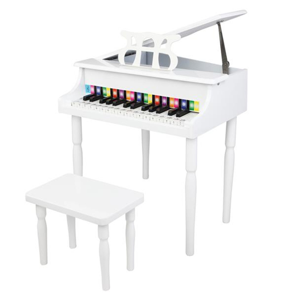 [US Direct] Original LALAHO Children 30-key Wooden  Piano With Music Stand Mechanical Sound Mdf Wooden 4feet Piano Toys For Kid white