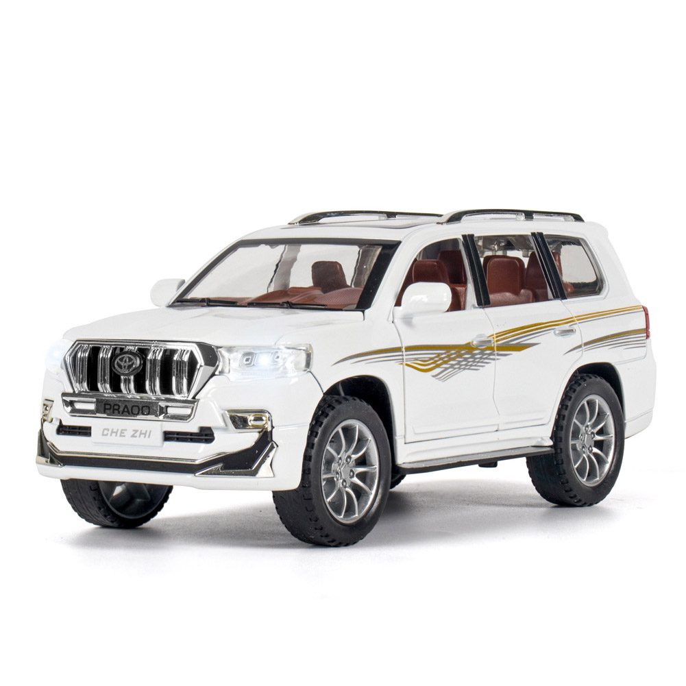 Alloy Car Model Toy for 1:24 prado Pull-back Cars Kid Toys For Children Gifts Boy cross country vehicle Toy white