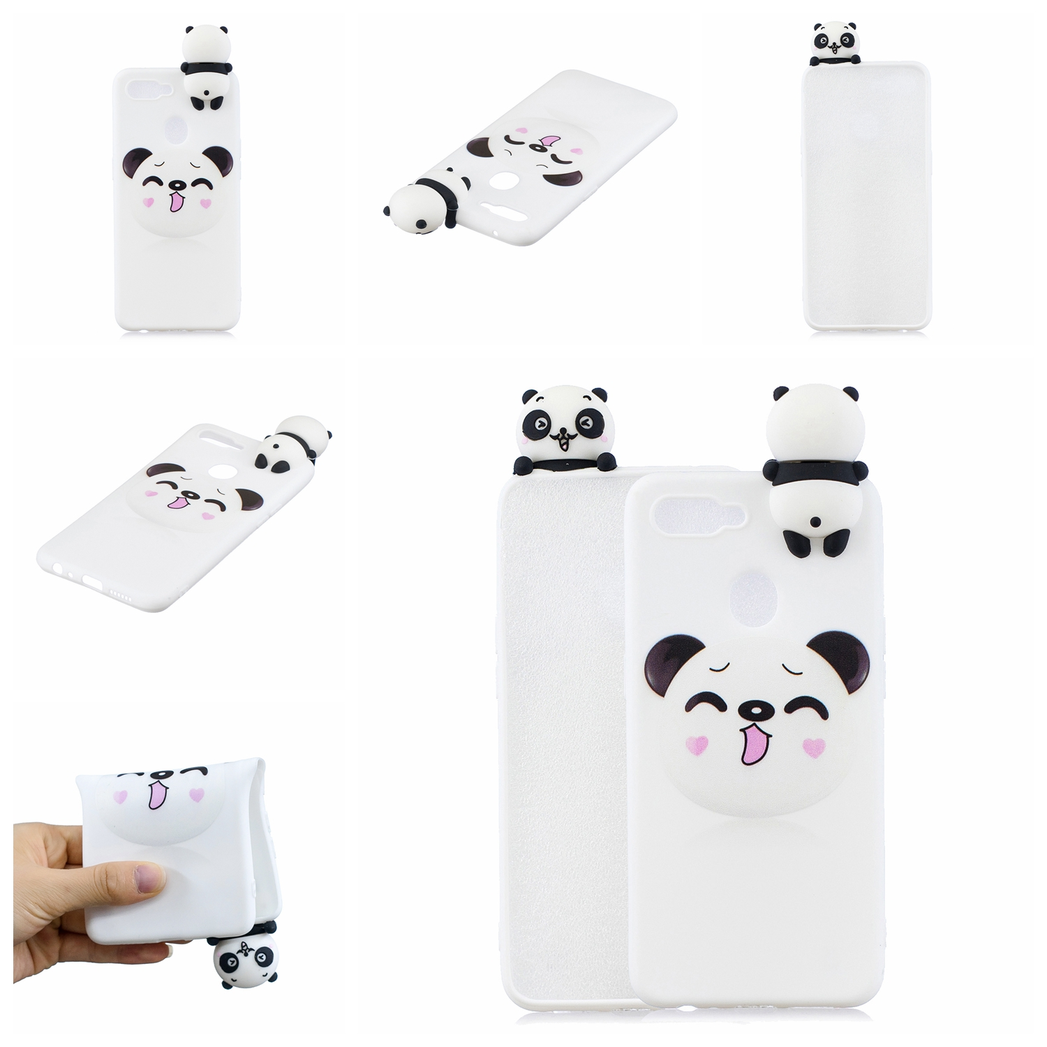 For OPPO F9/F9 PRO 3D Cute Coloured Painted Animal TPU Anti-scratch Non-slip Protective Cover Back Case Smiley panda