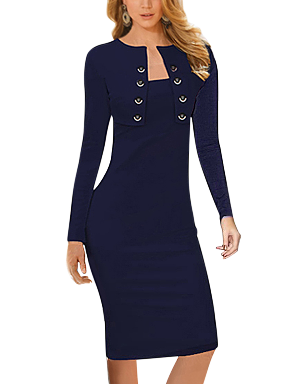 Women Double-breasted Square Neck Long Sleeve Knee Length Bodycon Pencil Dress Pure Color