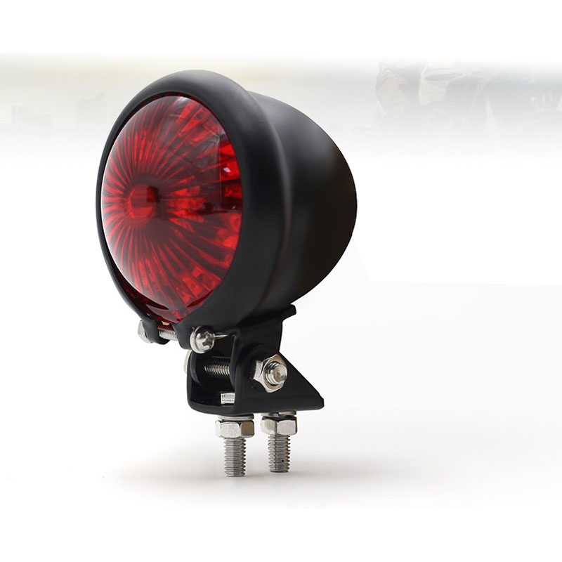 Motorcycle 12v Led Cafe Racer Style Stop Tail  Light Motorbike Brake Rear Lamp Taillight Black shell red cover