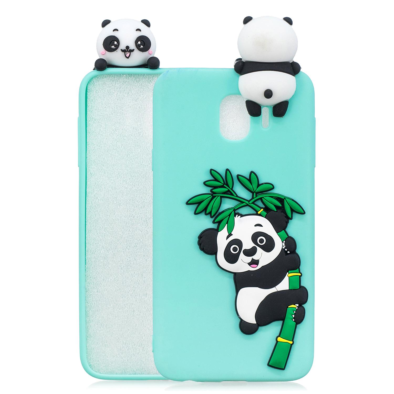 For Samsung J4 2018/J4 Plus Phone Case 3D Cartoon Panda Bamboo Cellphone Back Shell Shockproof Smartphone Cover Light blue