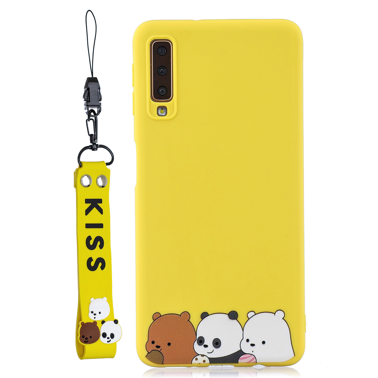 For Samsung A7 2018 Cartoon Lovely Coloured Painted Soft TPU Back Cover Non-slip Shockproof Full Protective Case with Lanyard yellow