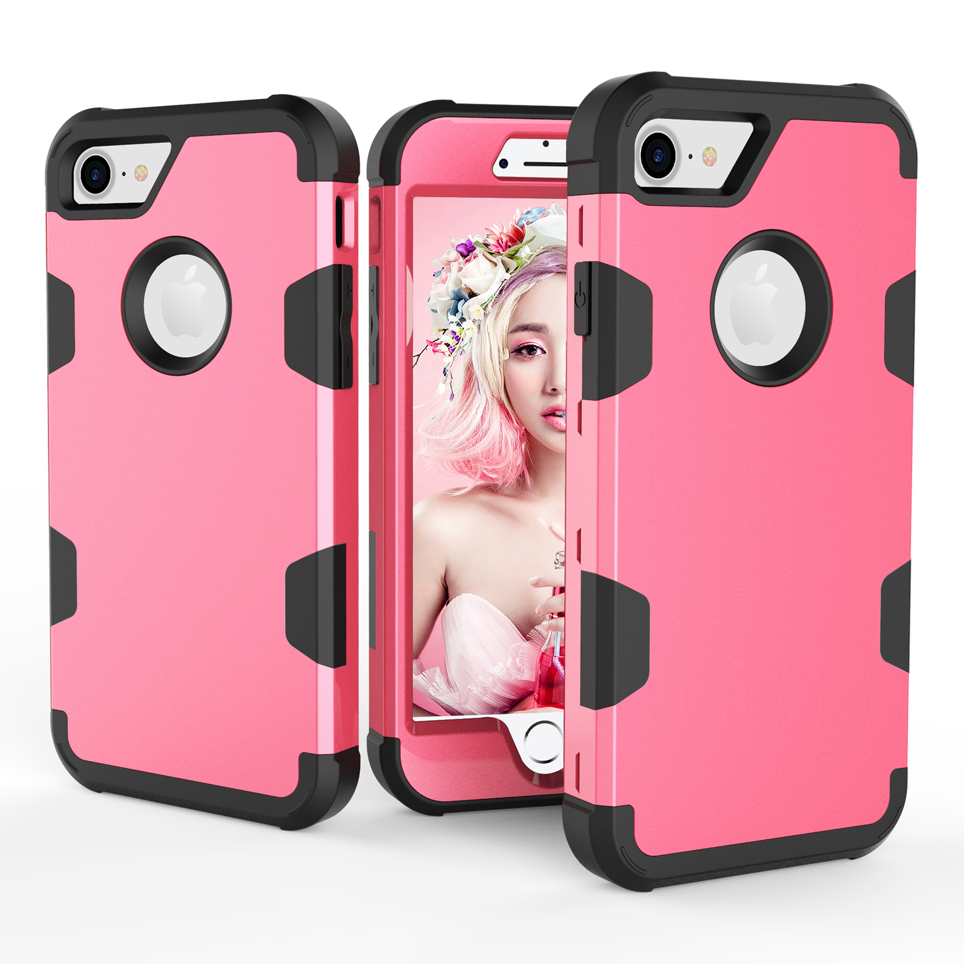For iPhone 7 PC+ Silicone 2 in 1 Hit Color Tri-proof Shockproof Dustproof Anti-fall Protective Cover Back Case Rose red + black