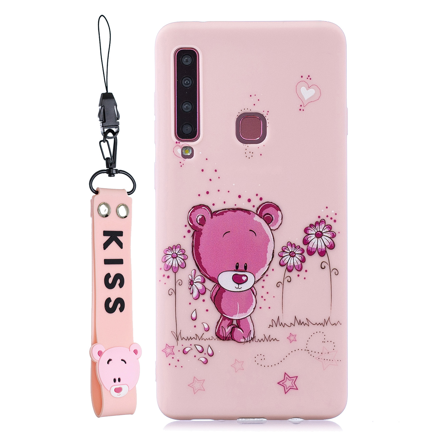 For Samsung A9 2018 Cartoon Lovely Coloured Painted Soft TPU Back Cover Non-slip Shockproof Full Protective Case with Lanyard Light pink