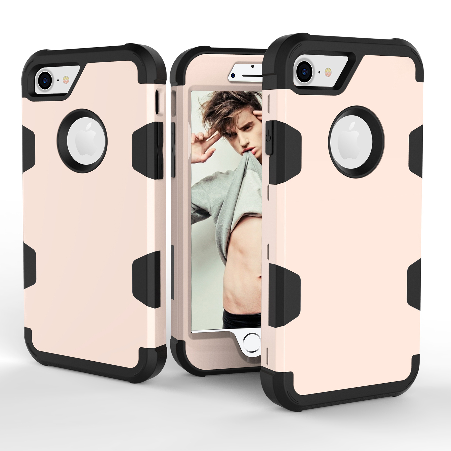 For iPhone 7 PC+ Silicone 2 in 1 Hit Color Tri-proof Shockproof Dustproof Anti-fall Protective Cover Back Case Gold + black