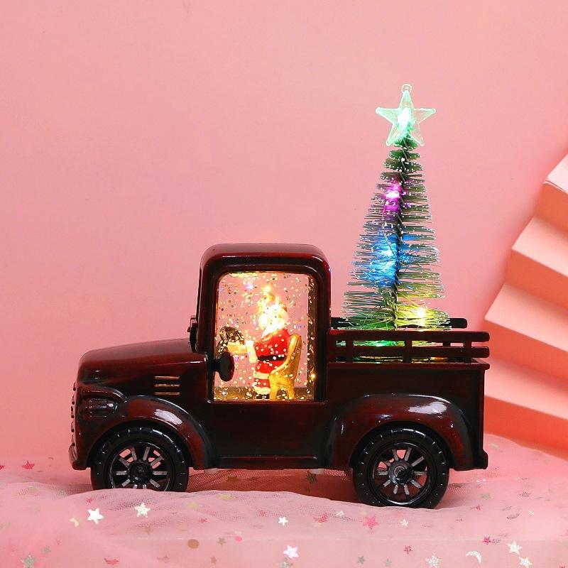 Christmas  Ornaments Creative Luminous Irrigation Car Retro Pickup Truck Model Desktop Decoration Red car + glowing cedar tree