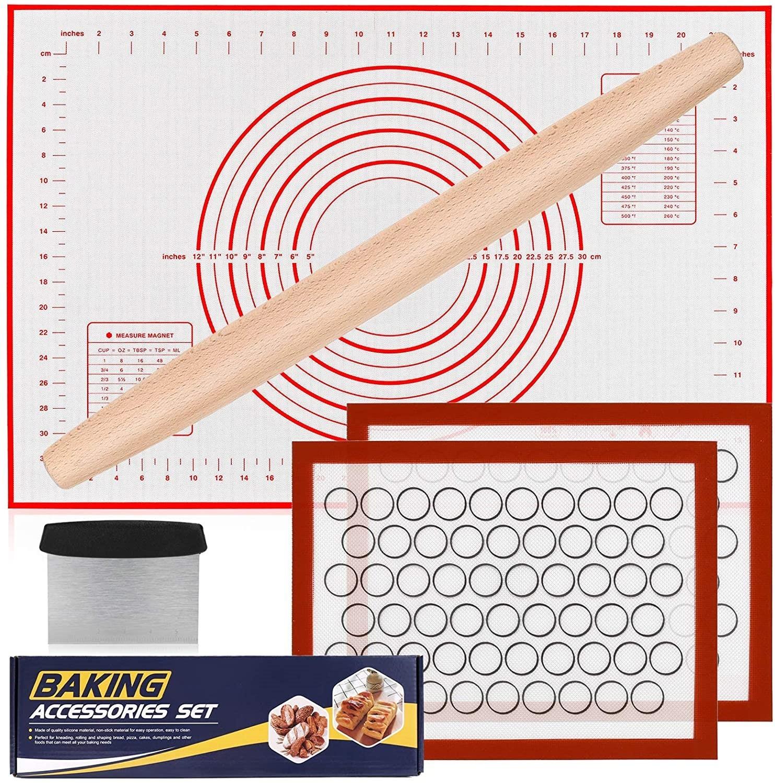 5pcs/set Silicone Baking  Tool  Set Baking Mat Rolling Pin Rolling Pad Heat-resistant Baking Mat Baking mat set of 5