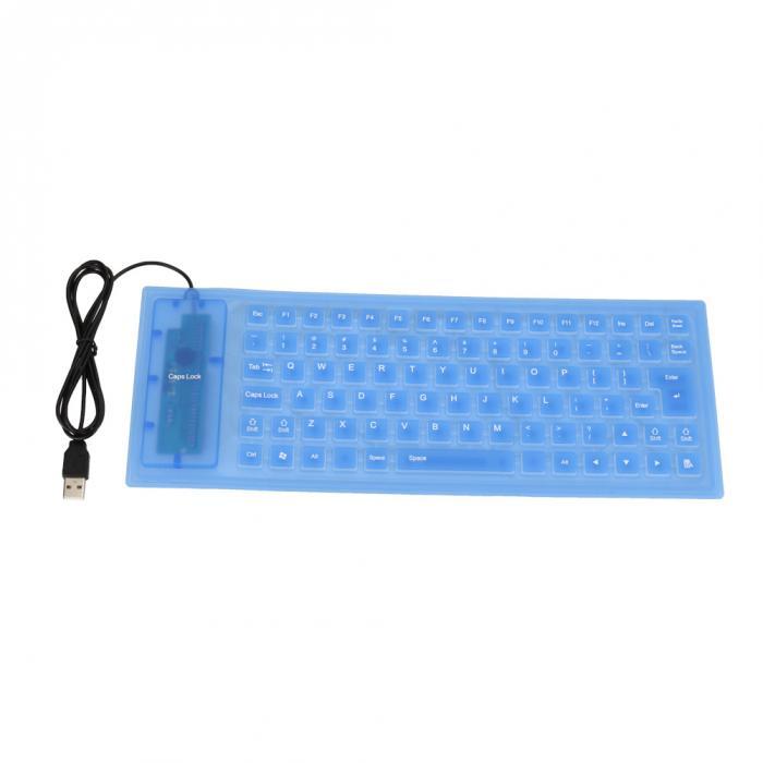 Portable Flexible Silicone Keyboard Foldable Waterproof Dustproof USB Silent Keyboard for Laptop Notebook  blue