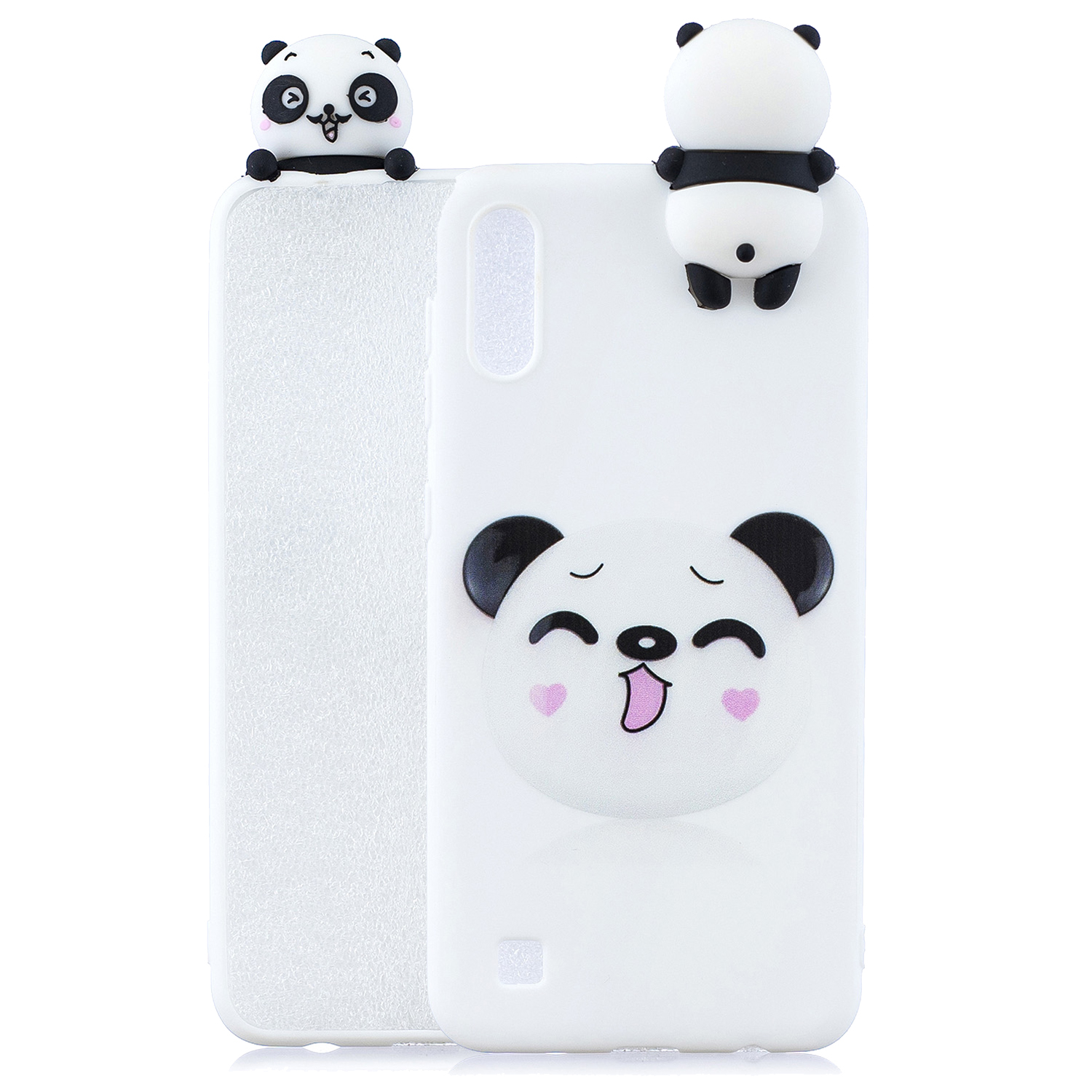 For Samsung A01 Soft TPU Case Back Cover 3D Cartoon Painting Mobile Phone Shell Smiley Panda