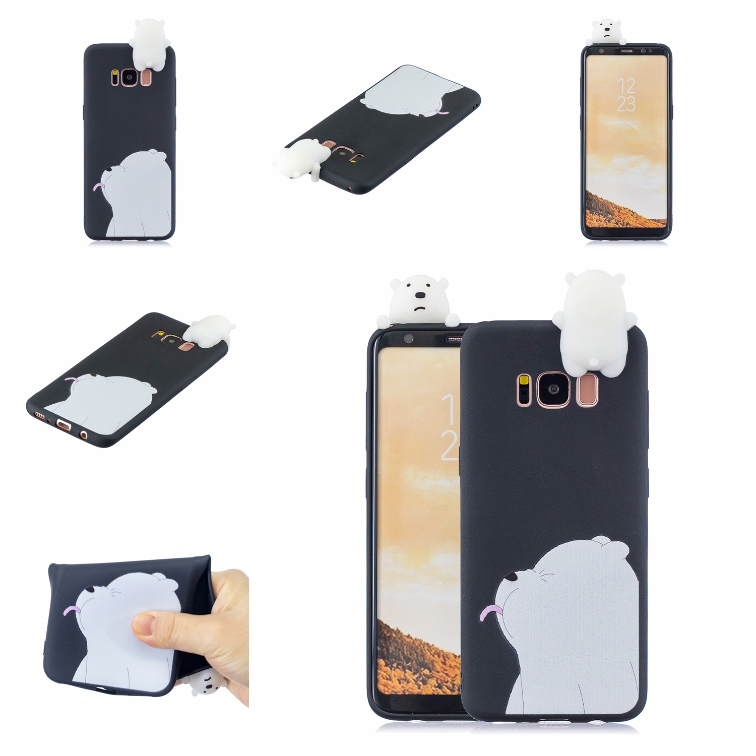 For Samsung S8 3D Cartoon Lovely Coloured Painted Soft TPU Back Cover Non-slip Shockproof Full Protective Case black