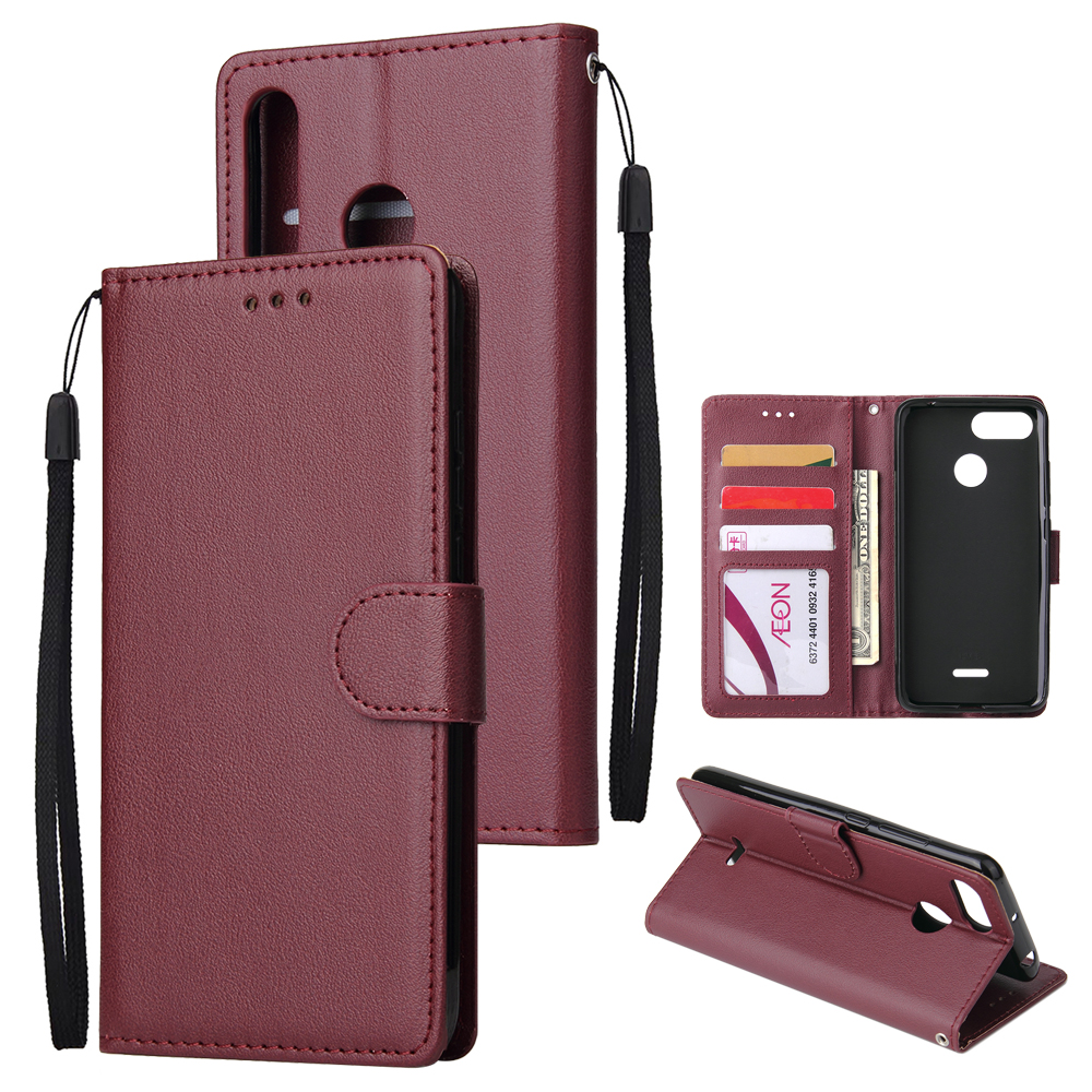 For HUAWEI P30 lite/nova 4E Flip-type Leather Protective Phone Case with 3 Card Position Buckle Design Phone Cover  Red wine