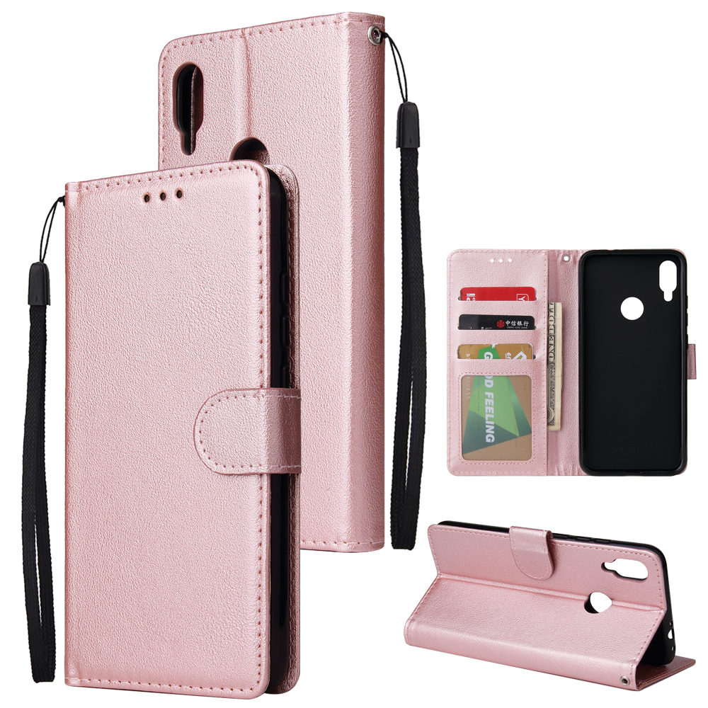 For Redmi note 7/Redmi note 7pro Flip-type Leather Protective Phone Case with 3 Card Position Buckle Design Phone Cover  Rose gold