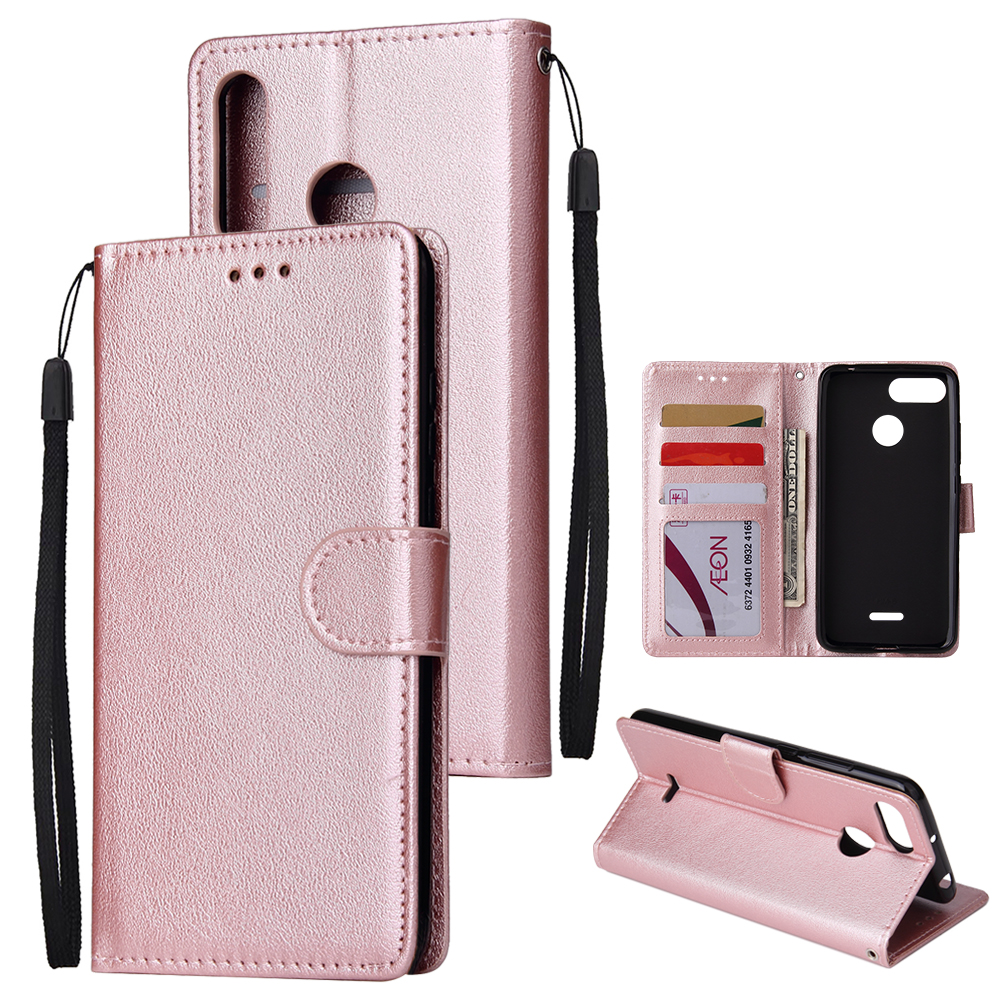 For HUAWEI P30 lite/nova 4E Flip-type Leather Protective Phone Case with 3 Card Position Buckle Design Phone Cover  Rose gold