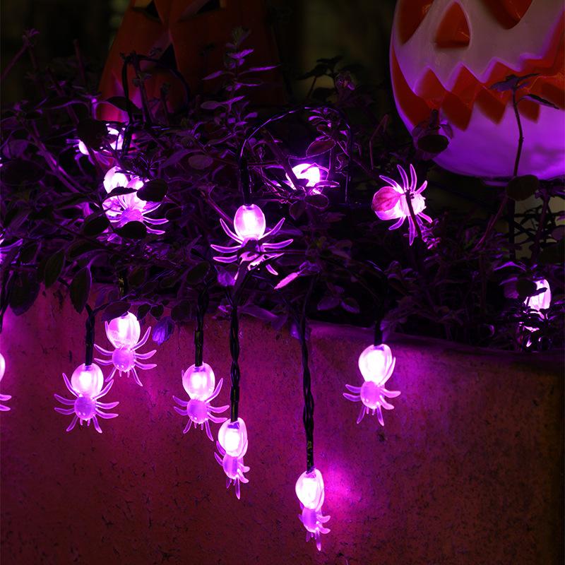 LED Solar String Light Purple Spider Light for Halloween Party Garden Home Yard Decorations Transparent spider