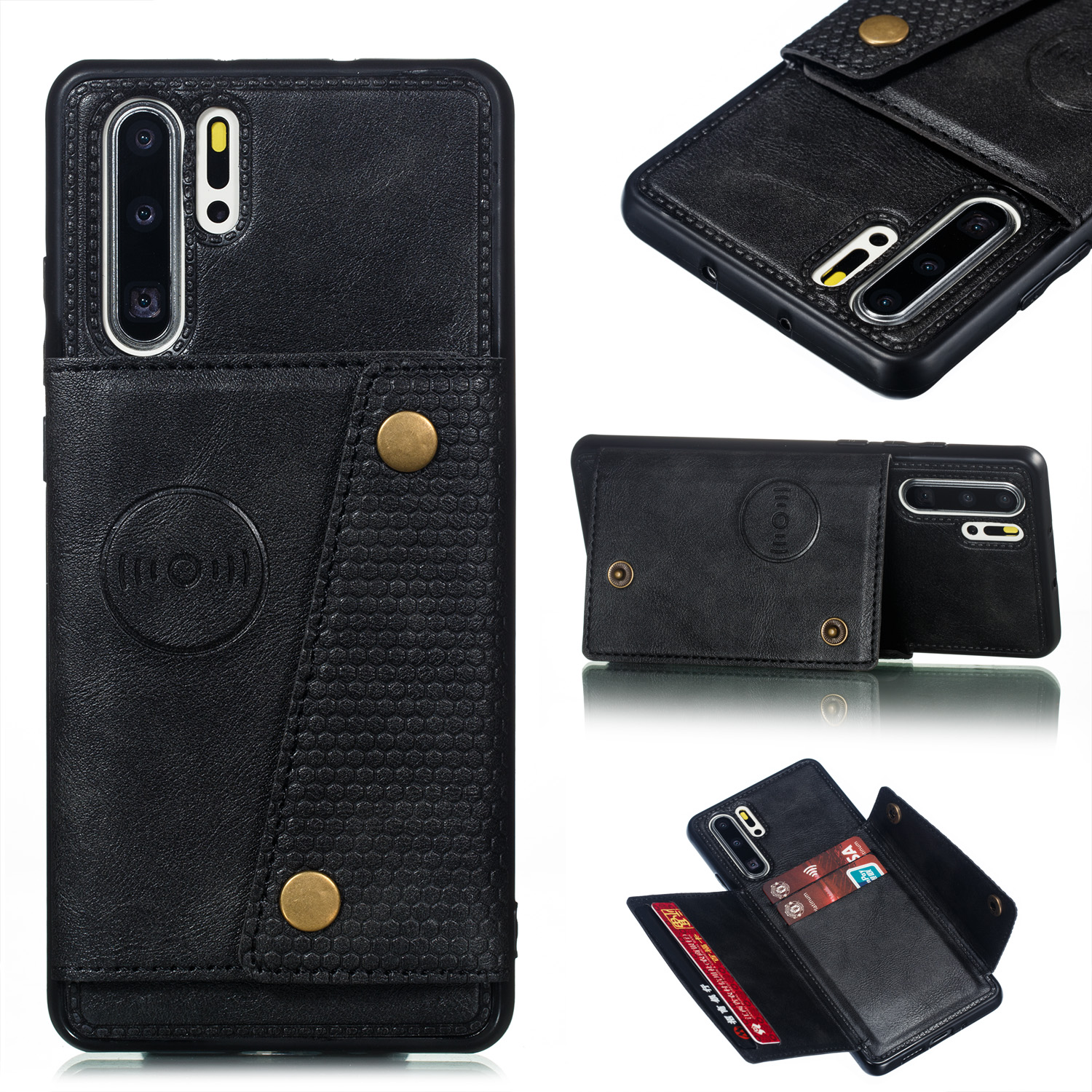 For Huawei P30 pro Double Buckle Non-slip Shockproof Cell Phone Case with Card Slot Bracket black