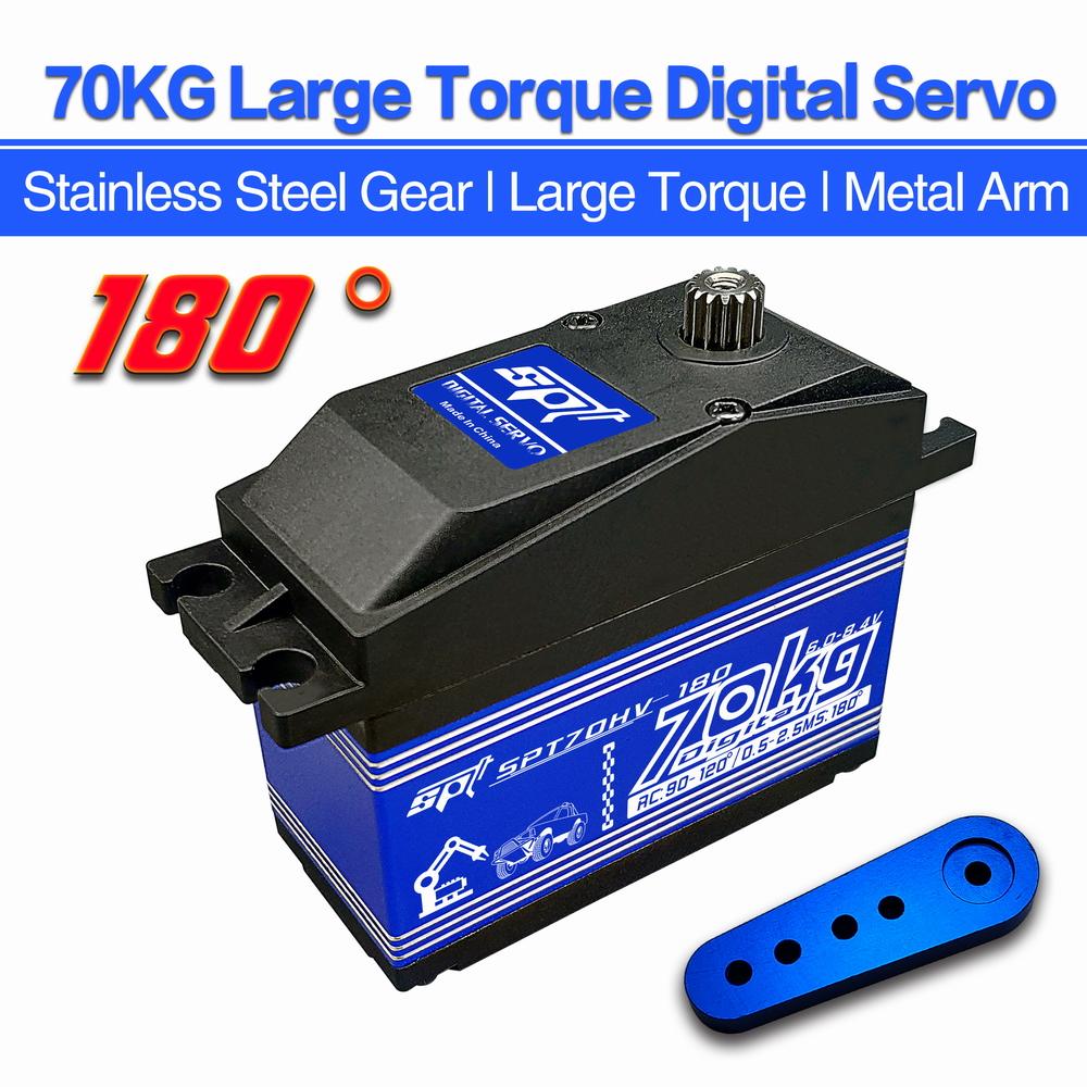 SPTZOHV 180W 70KG Angle 180 High Speed Big Torque Digital Servo Steel Metal Gears Case For Robot Arm RC Car