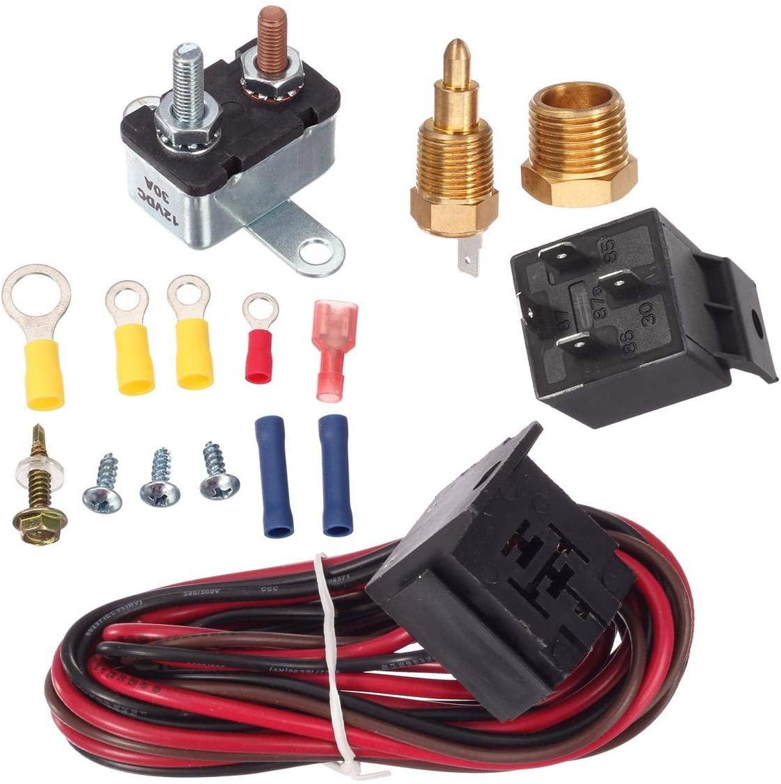 15pcs Car Electric Cooling Fan Thermostat Kit Temp Sensor Temperature Switch 12V 50A 4-pin RELAY KIT