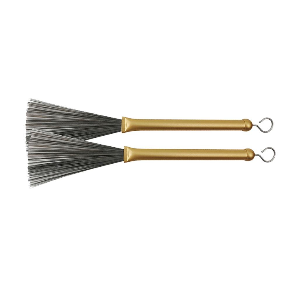 2pcs Retractable Jazz Drum Metal Brushes Drum Sticks Percussion Drumsticks Musical Accessories Gold