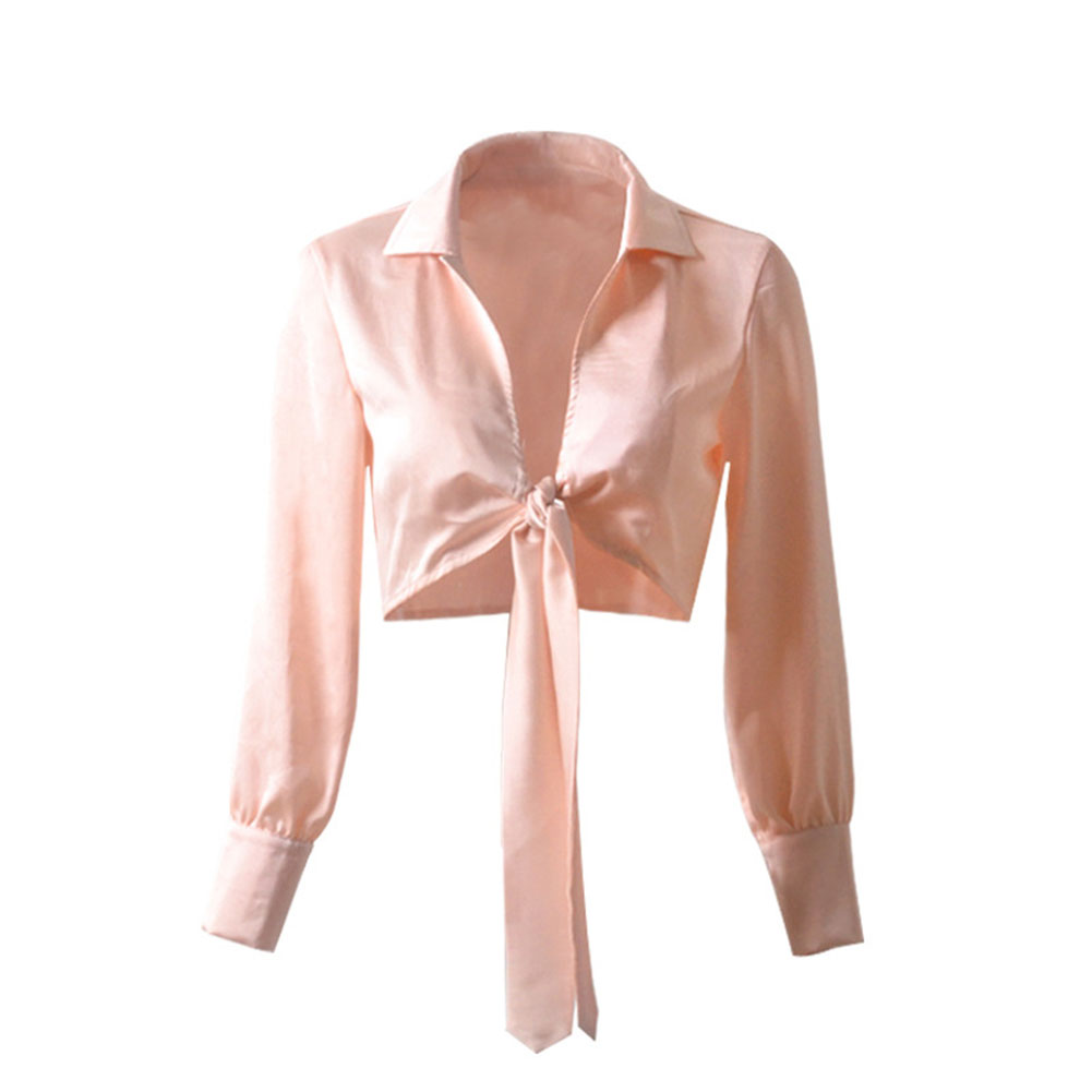 Women V-neck Satin Tops Long-sleeved Bowknot Tie Fashion Crop Top Blouse 8207-1 pink_S