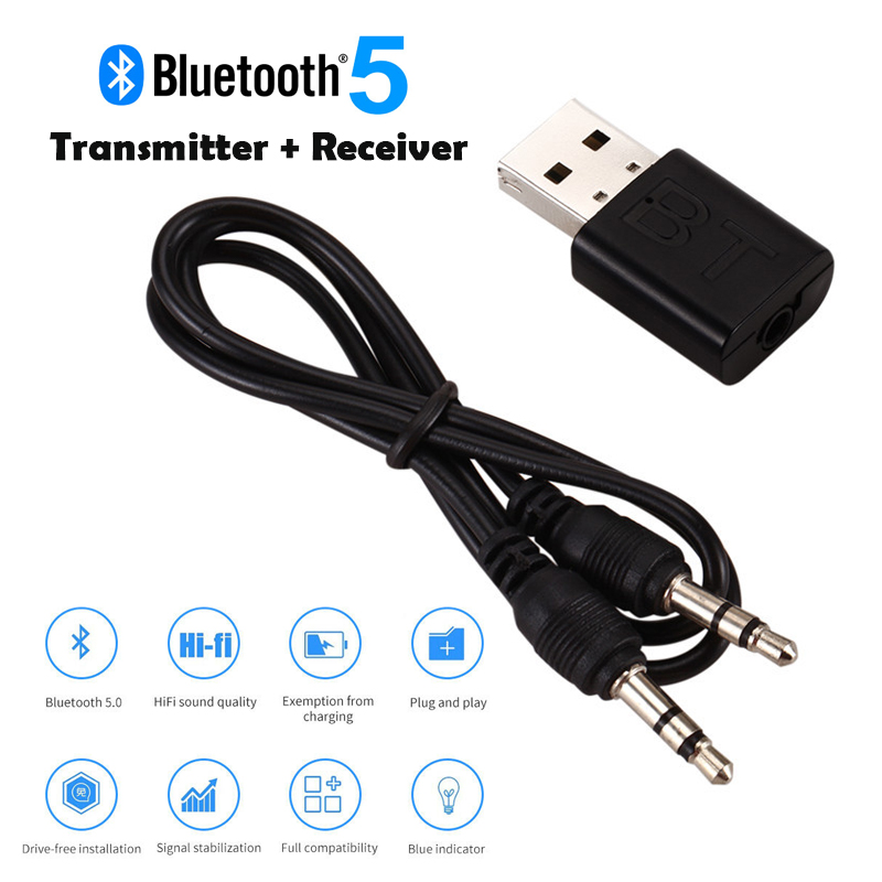 USB Bluetooth 5.0 Transmitter Receiver 3.5mm AUX Audio Cable for TV PC Car Speaker black