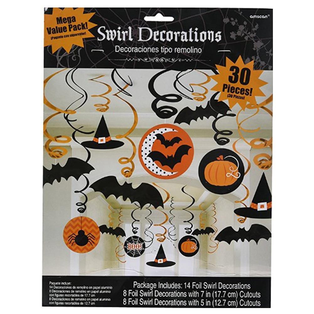 30 Pcs/set Halloween Ornament Pendant Colorful Spiral Hanging Decoration Halloween 30-piece set of cartoon spiral ornaments