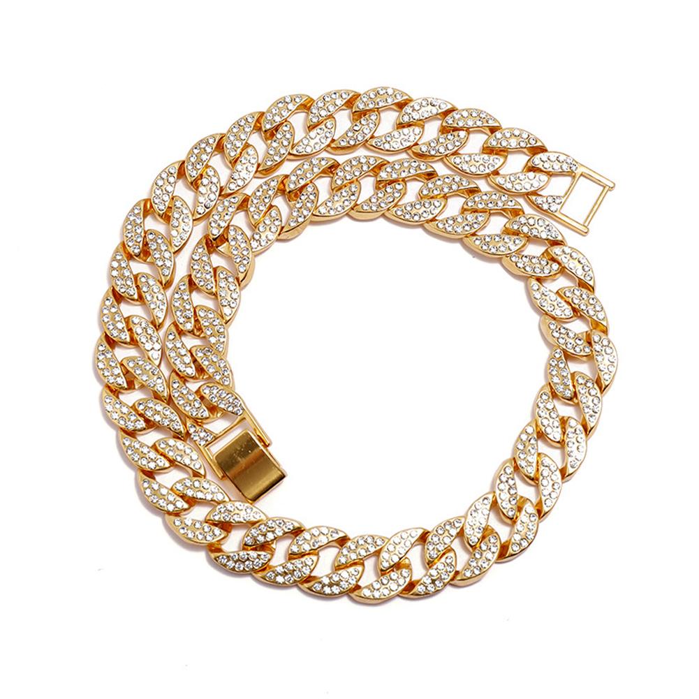 Men's Necklace Hip-hop Style Full-diamond Chain Necklace Bracelet Necklace-gold 46cm
