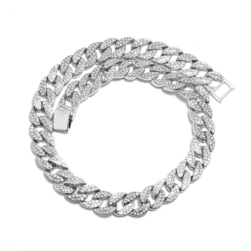 Men's Necklace Hip-hop Style Full-diamond Chain Necklace Bracelet Necklace-silver 46cm
