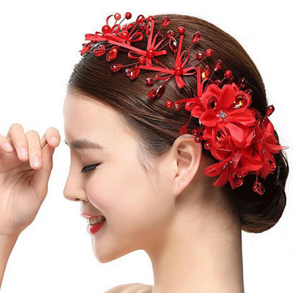Korean style red crystal beaded lace bow headband