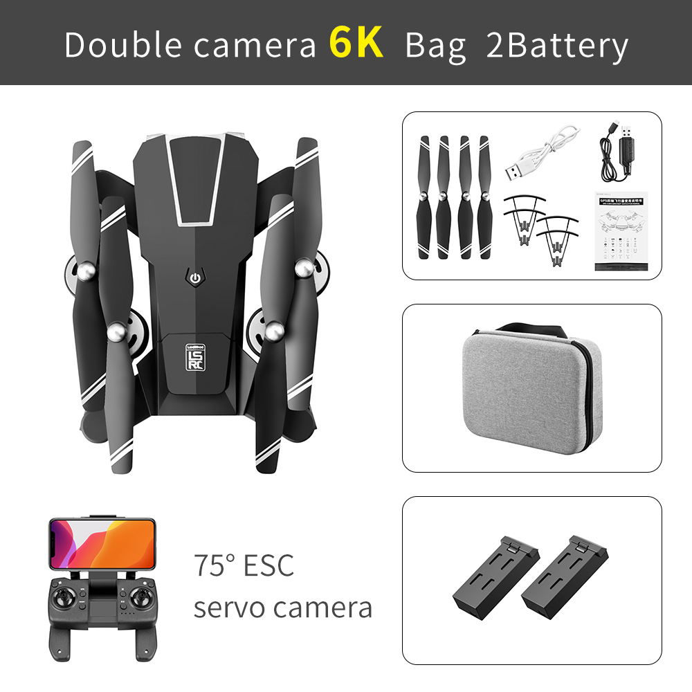 Ls-25 Drone 6k 4k Ultra Hd Dual Camera Ptz Drone 5g Wifi Gps Height Maintain Headless Mode Rc Quadcopter 6k Professional 6k pixel configuration 2 battery package