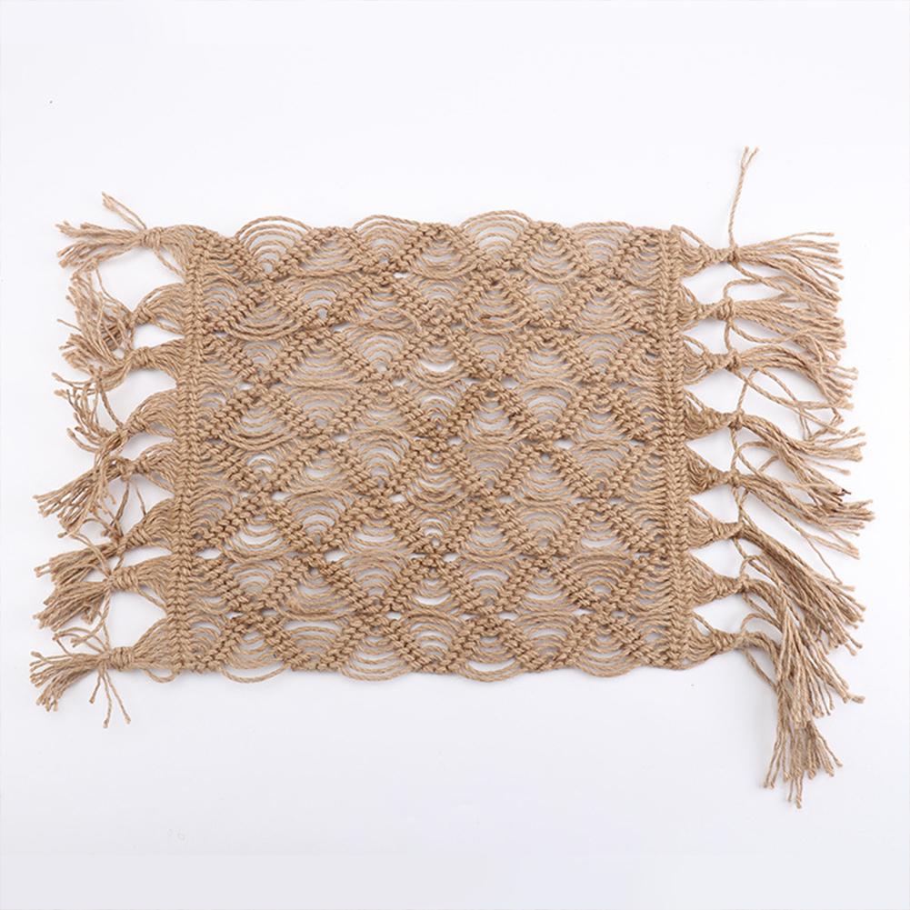 Hand-woven Hemp  Rope  Mat Breathable Blanket Photography Props Accessories Hemp rope mat_65cm*35cm