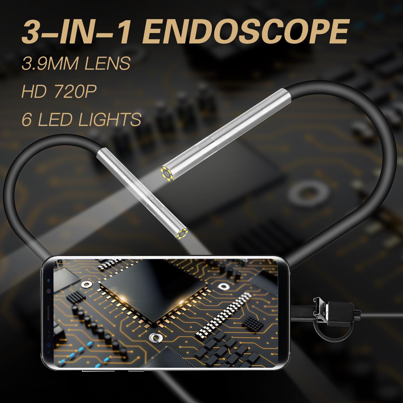 AN100 Rigid Line Endoscope Camera Flexible IP67 Waterproof Inspection Borescope Camera Hard line 3.5 meters