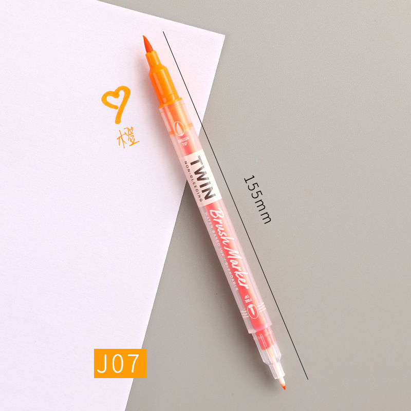 Double Head Marker Pen Multi Color Watercolor Water Based Hand Account Painting Pen Stationery Office Stationery J07 orange_15cm