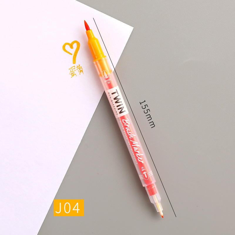 Double Head Marker Pen Multi Color Watercolor Water Based Hand Account Painting Pen Stationery Office Stationery yellow_15cm