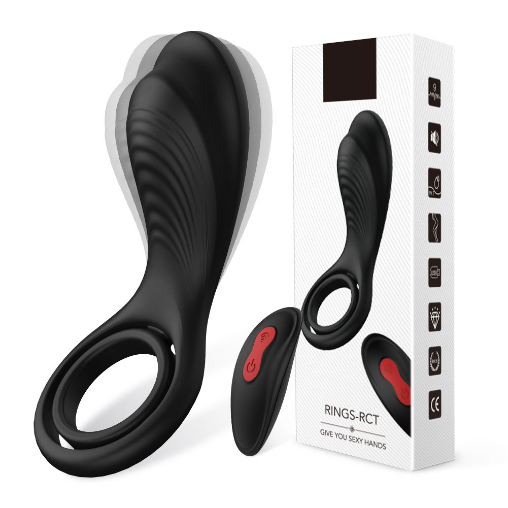 Viberate Waterproof Penis Ring Remote Control 9 Frequency Longer Stronger Male Enhancement Sex Tool black
