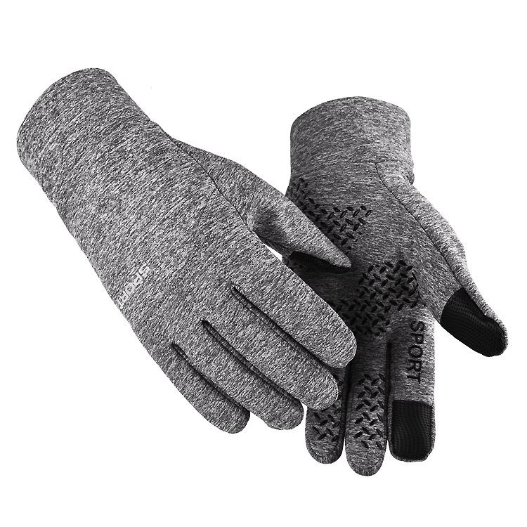 Men Women Gloves Autumn Winter Warm Touchscreen Nonslip Outdoor Riding Gloves gray_L