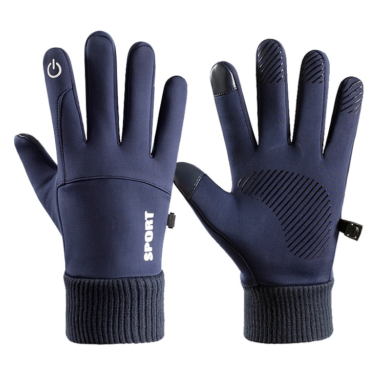 Men Women Thermal Fleece Gloves Waterproof Running Jogging Cycling Ski Sports Touchscreen Fleece Gloves blue_One size