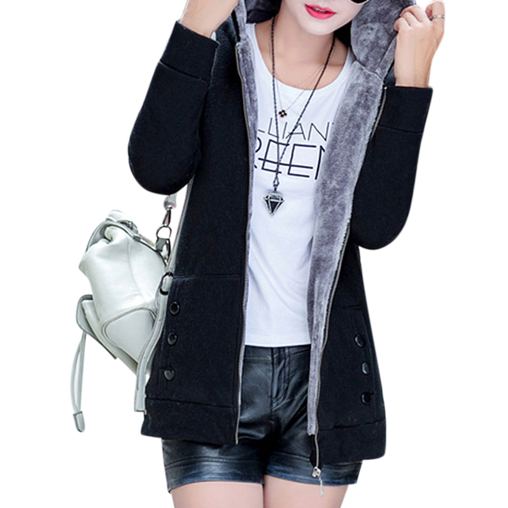 Women Autumn Winter Hooded Coat - Black  XL