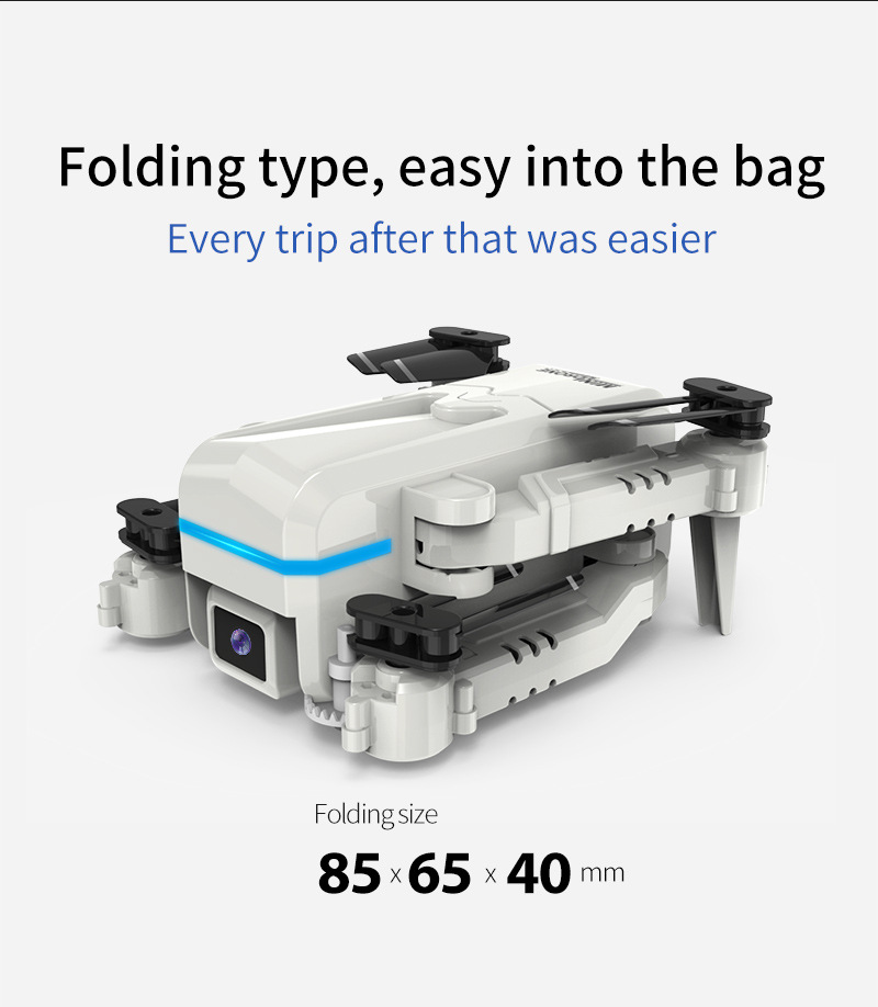 Mini  Folding  Aircraft Dual-lens Dual-cut Aerial Photography Fixed-height Wifi Remote Control Drone Off-white with 4K-wifi camera