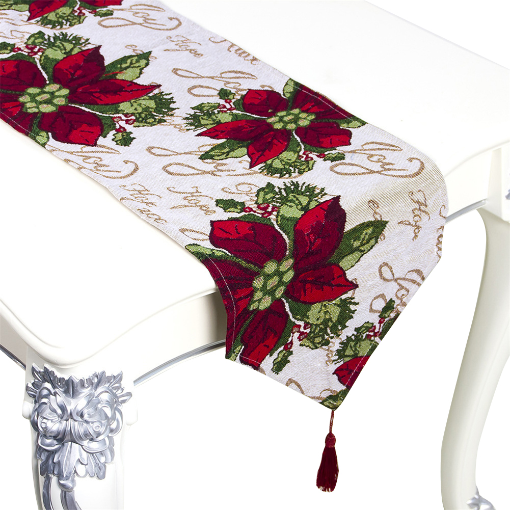 Christmas Printing Table  Runner Desk Cover Household Decorative Ornaments A section safflower