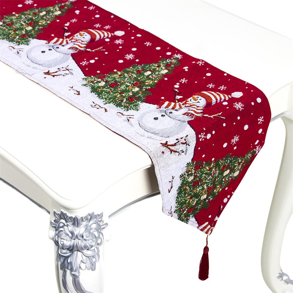 Christmas Printing Table  Runner Desk Cover Household Decorative Ornaments B Snowman