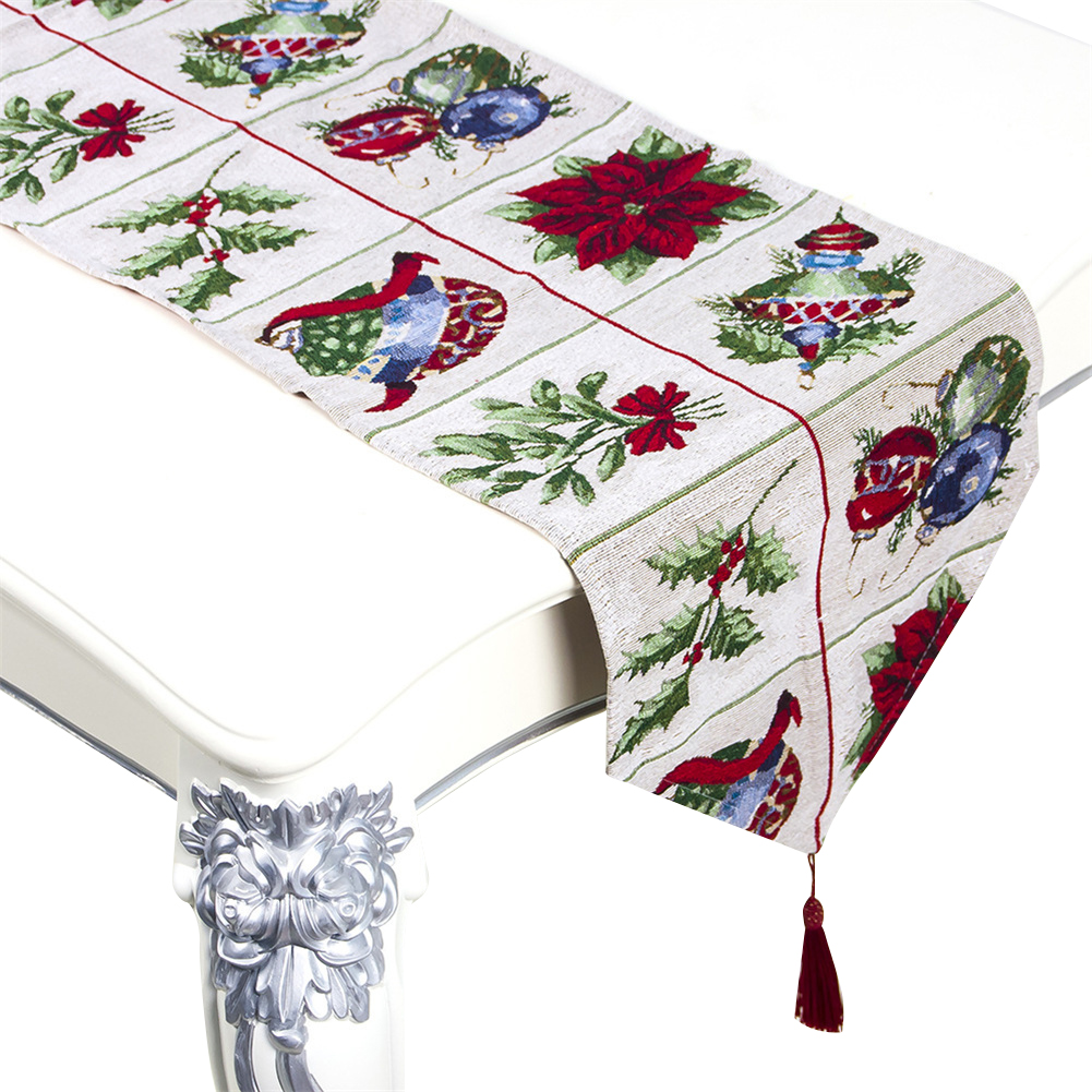 Christmas Printing Table  Runner Desk Cover Household Decorative Ornaments C section grid