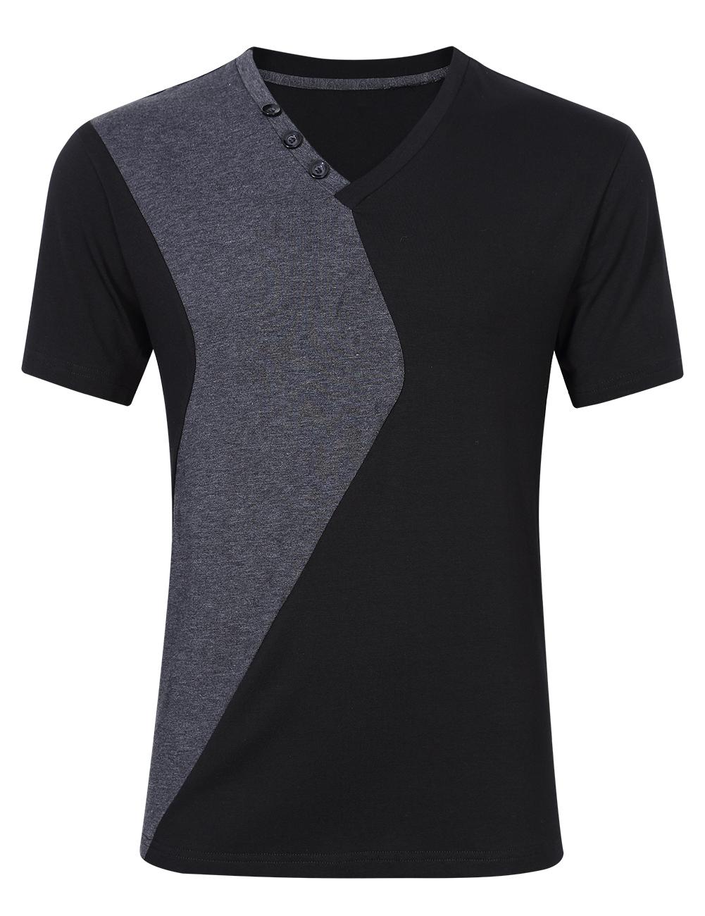 [US Direct] Young Horse Men Fashion Cotton Color Block Short Sleeve Slim T-shirt Black XL Black_5XL